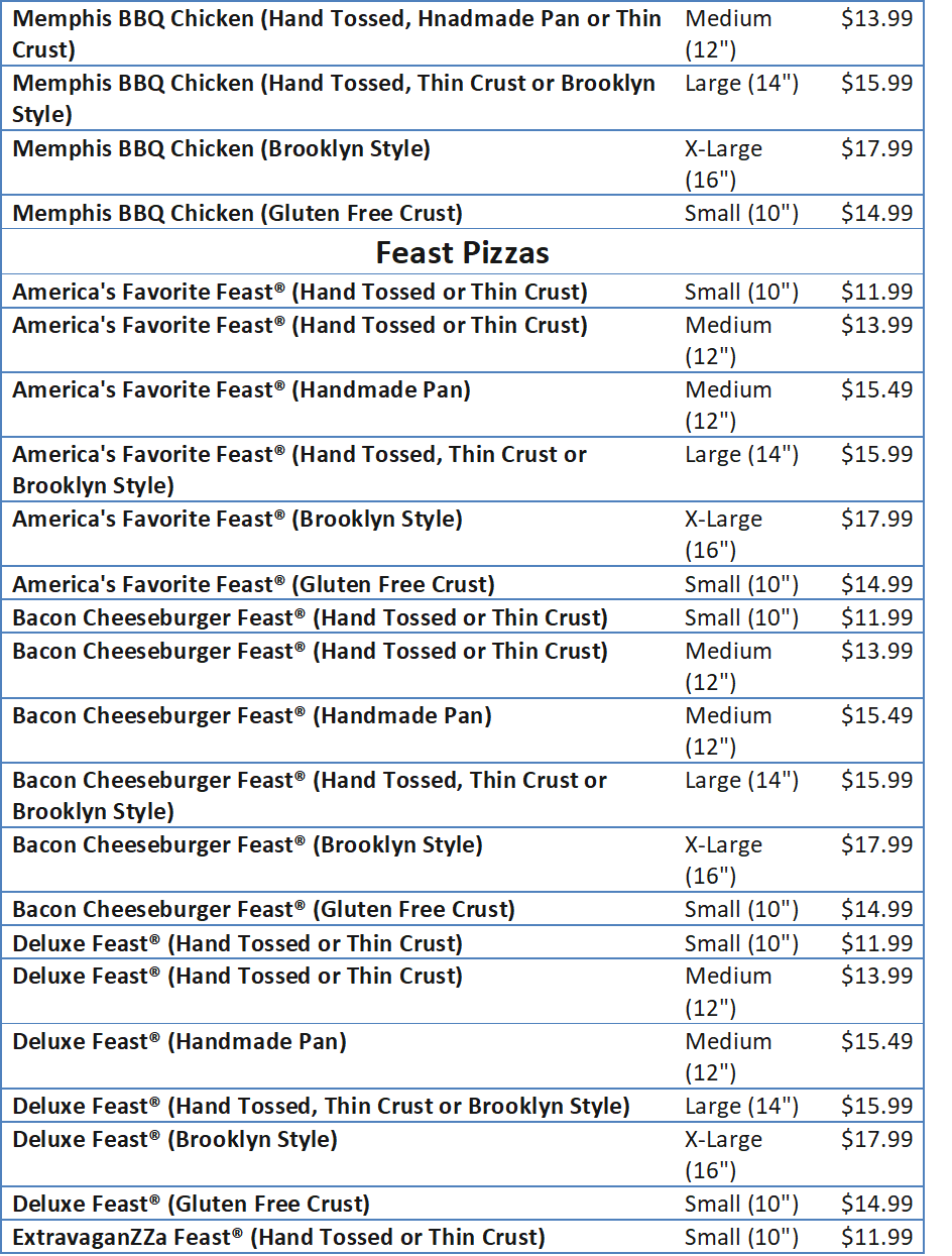 domino pizza menu price list