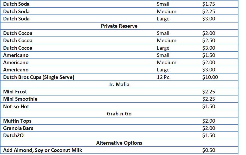 dutch bro menu