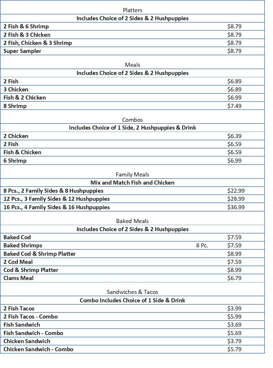 long john silvers menu