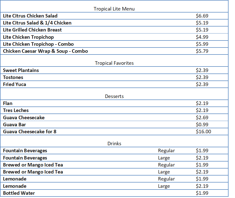 pollo tropical menu and prices