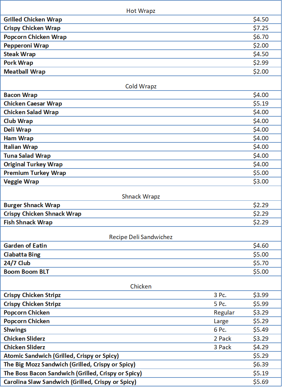 sheetz menu prices