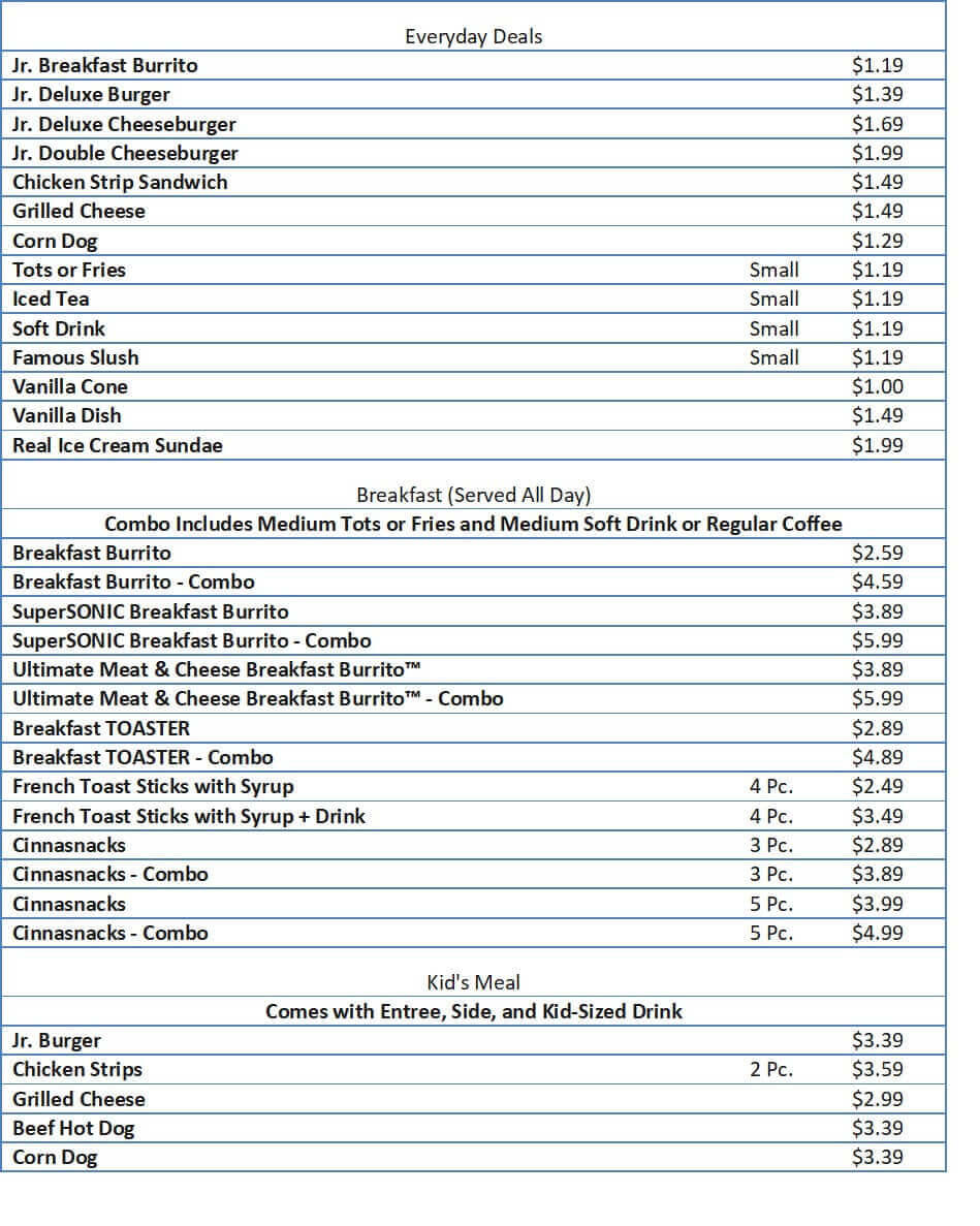 sonic menu prices