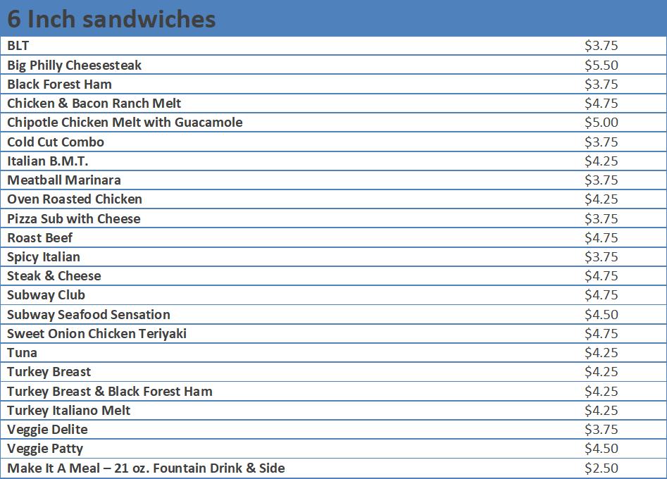 subway sandwich prices