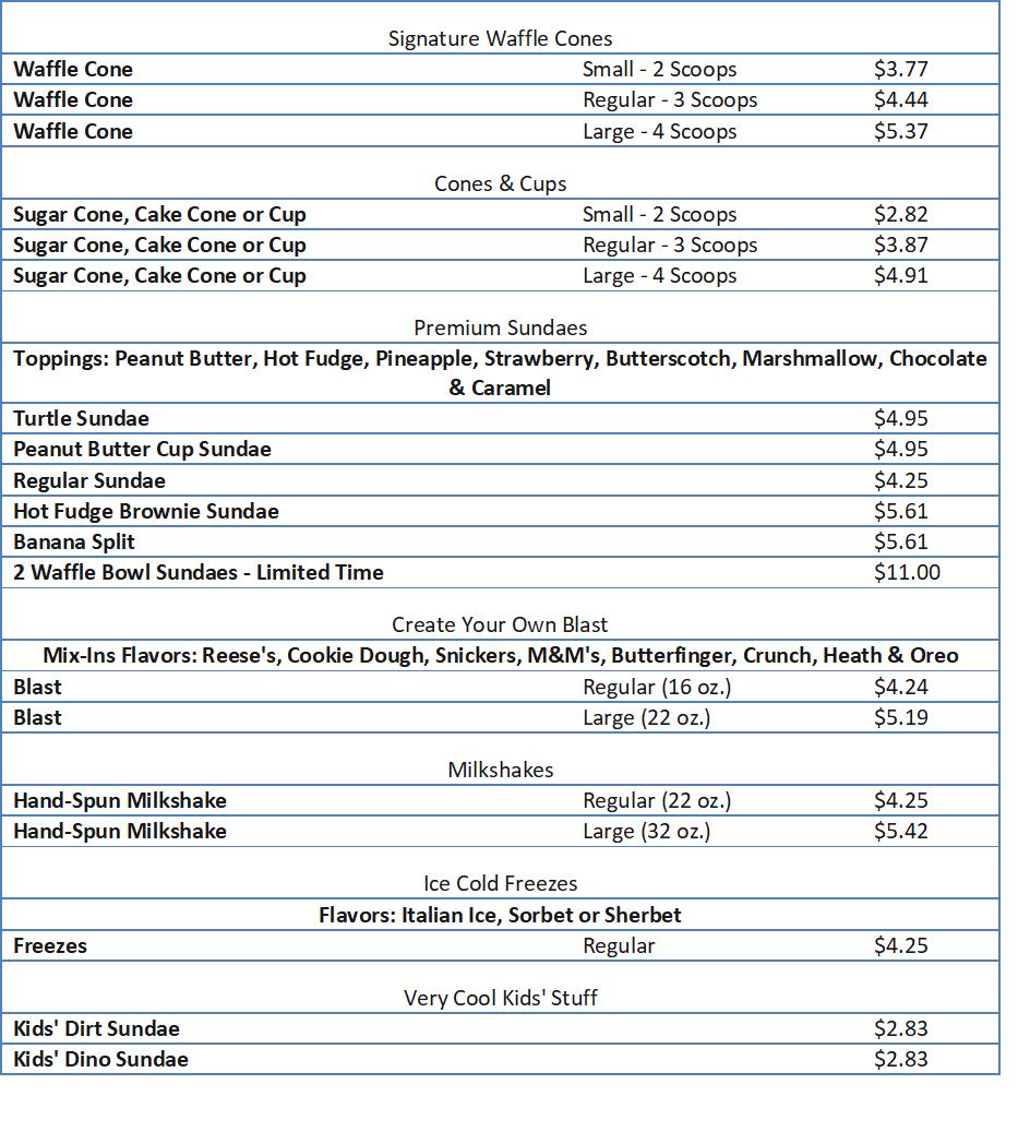 brusters menu prices