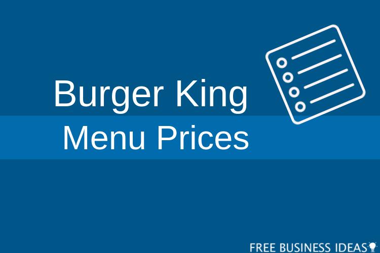 burger king menu prices