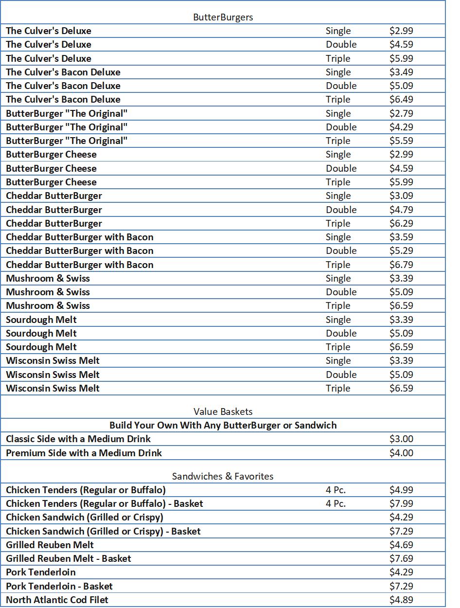 culvers menu and prices