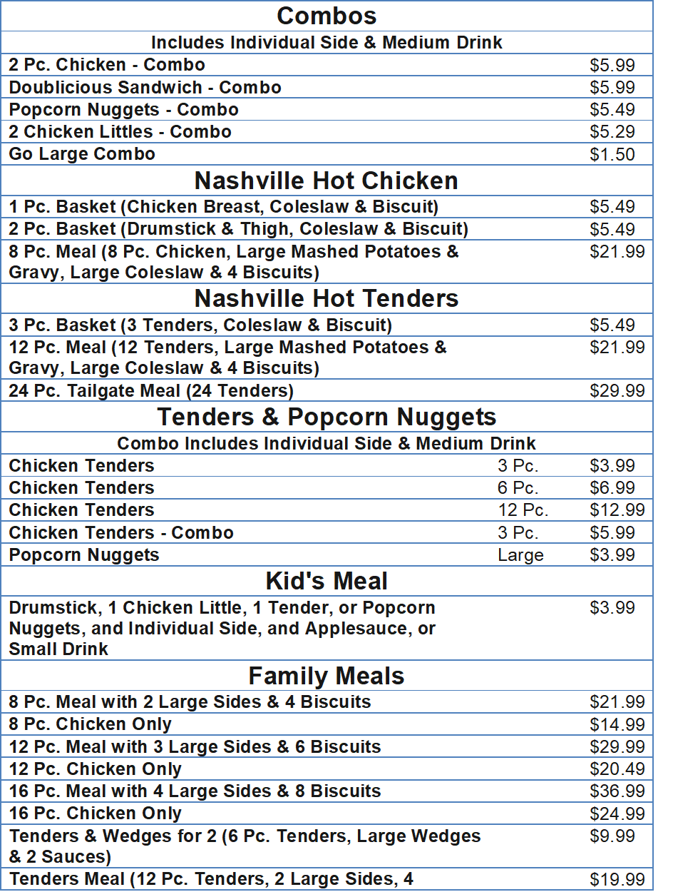 kfc menu with prices