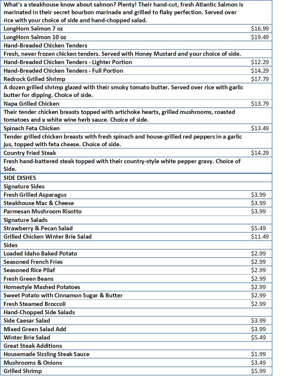 long horn menu