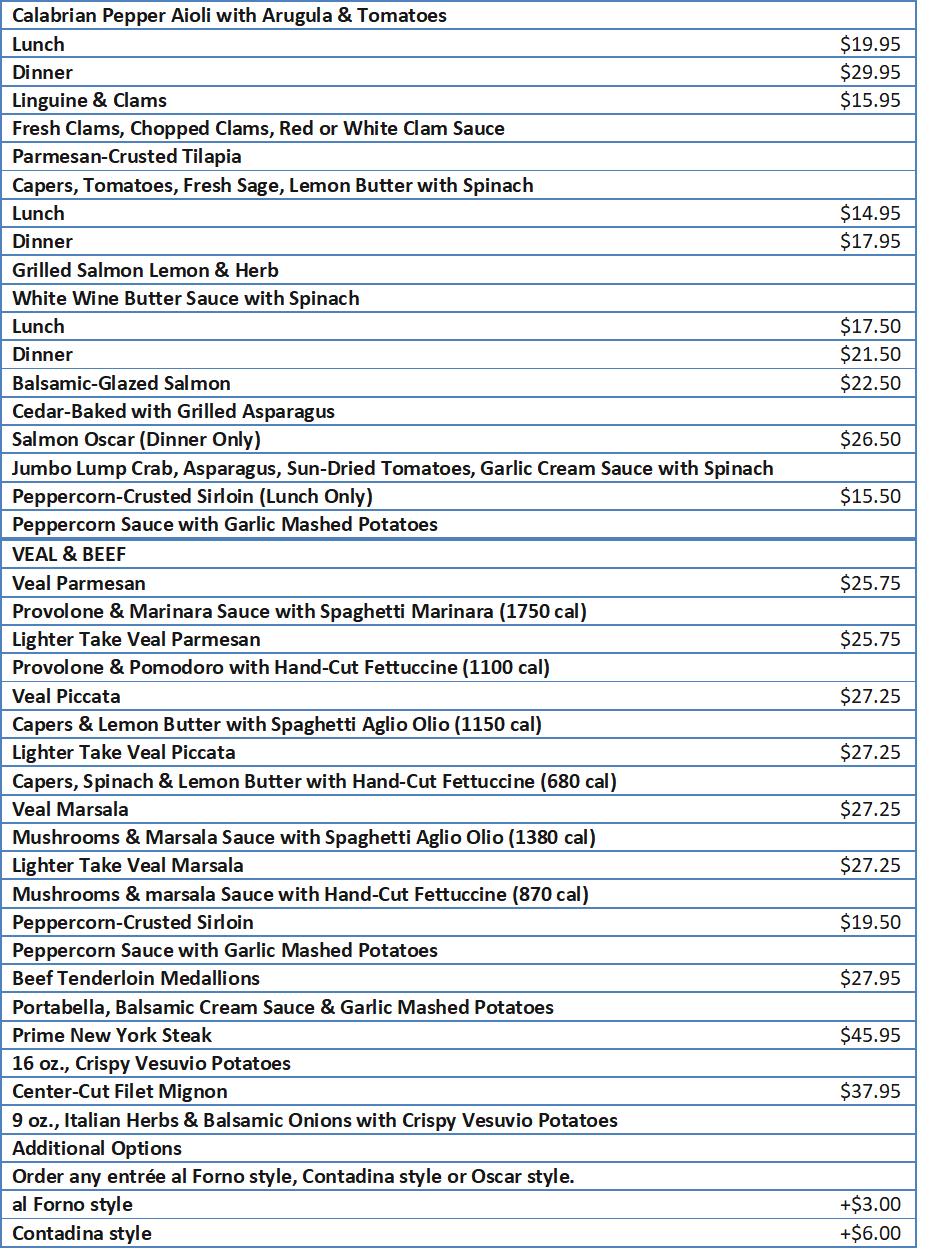maggianos menu prices