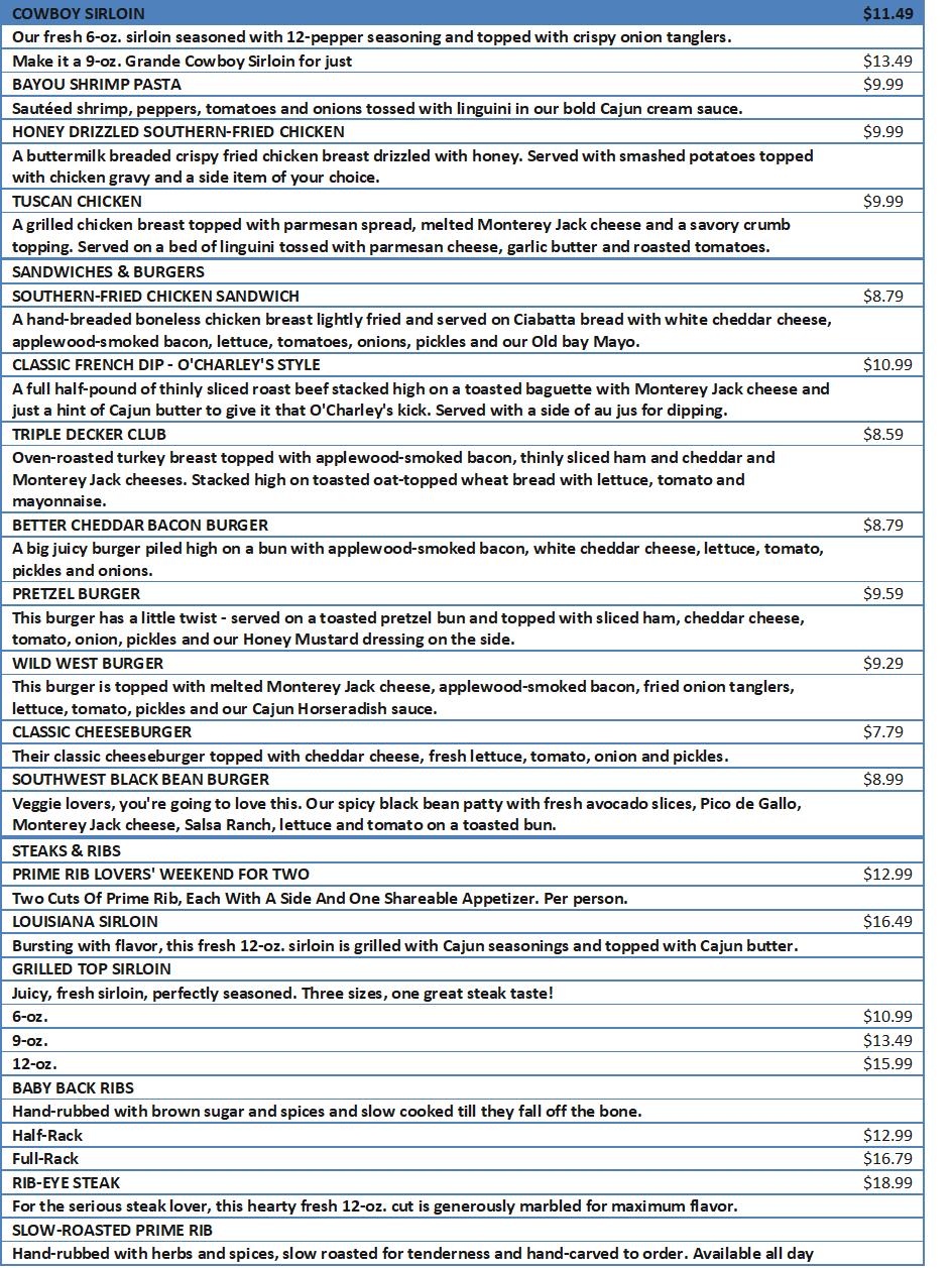 ocharleys lunch menu
