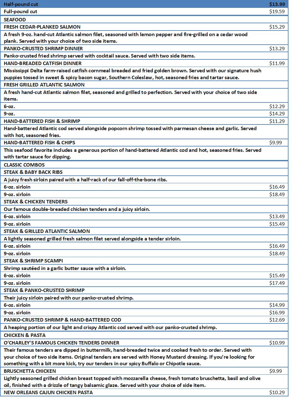 ocharleys menu prices