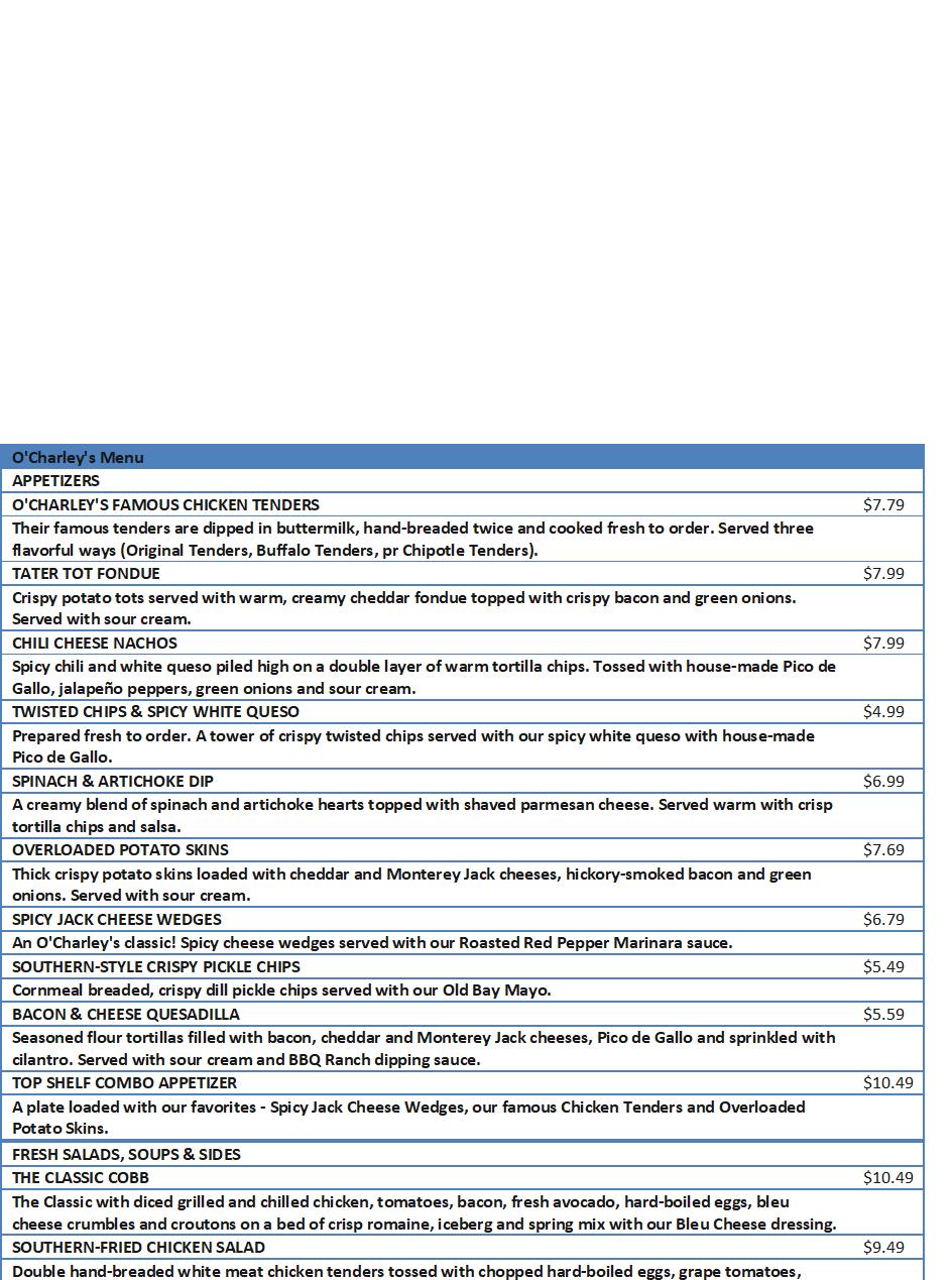 ocharleys menu