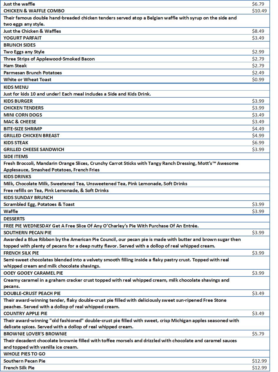 ocharleys snack menu