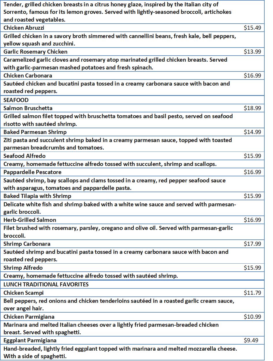 olive garden lunch specials