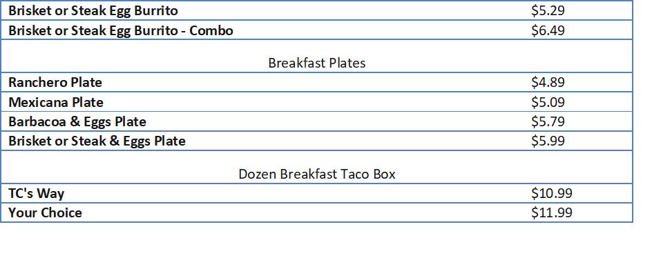 taco cabana menu prices